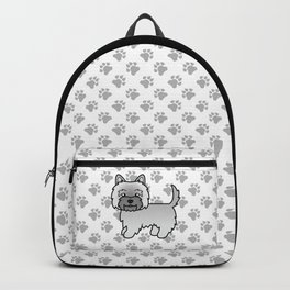 Cute Gray Cairn Terrier Dog Cartoon Illustration Backpack
