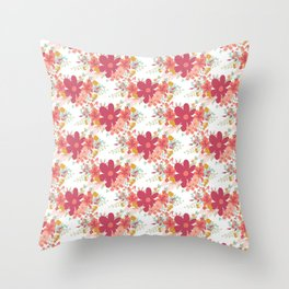 Pink coral teal hand painted floral illustration Throw Pillow