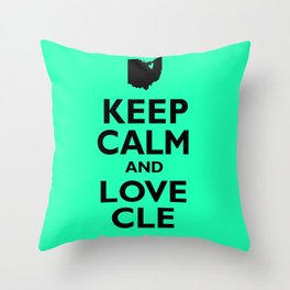Keep Calm and Love CLE Throw Pillow