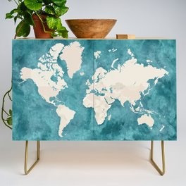 Teal watercolor and light brown world map Credenza