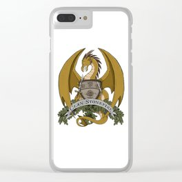 Clan Stonefire Crest - Gold Dragon Clear iPhone Case