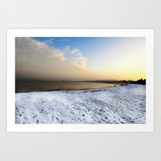 beach landscape with snow Art Print