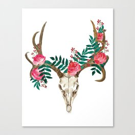 Bohemian deer skull and antlers with flowers Canvas Print