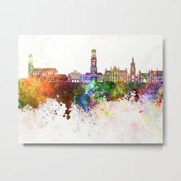 Bruges skyline in watercolor background Metal Print
