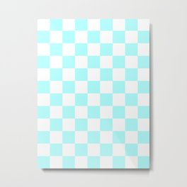 Checkered - White and Celeste Cyan Metal Print