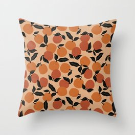 Seamless Citrus Pattern / Oranges Throw Pillow