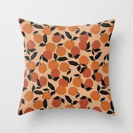 Seamless Citrus Pattern / Oranges Throw Pillow