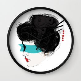 The Woman With the Painted Face Wall Clock