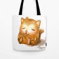 my mad fat diary Tote Bags featuring Fat Cat by Cat in the Box