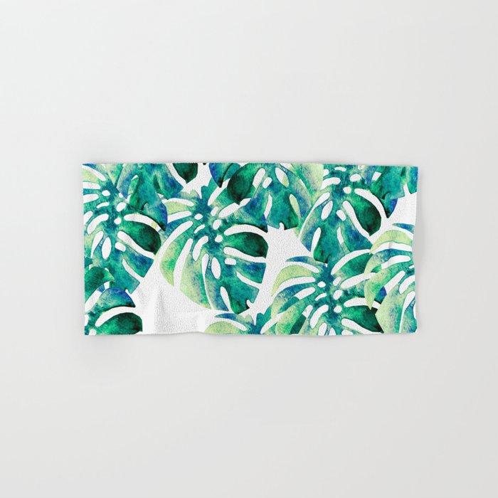 Monstera Pattern Green Hand & Bath Towel