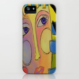 Colorful Abstract Digital Portrait of a Woman iPhone Case