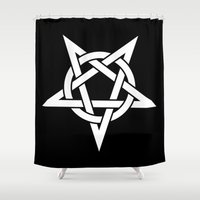 pentagram Shower Curtains featuring Pentagram by Howiesgraphics
