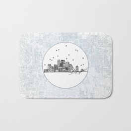 Minneapolis, Minnesota City Skyline Illustration Drawing Bath Mat