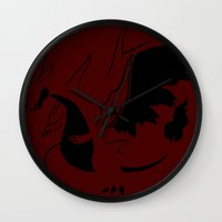 charizard Wall Clocks featuring Charizard Mega Y by Ruo7in