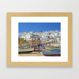 Albufeira fishing boats, Portugal Framed Art Print