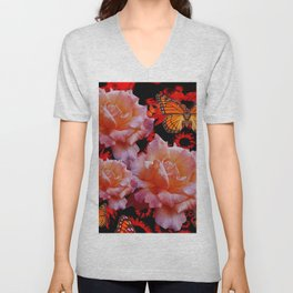 Three Antique Pinkish Roses Monarch Butterflies Art Unisex V-Neck