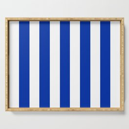 International Klein Blue - solid color - white vertical lines pattern Serving Tray