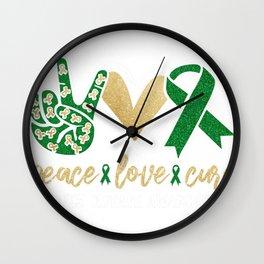 Peace Love Cure Kidney Disease Awareness Kidney Disease Survivor Wall Clock