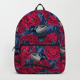 Wrens in the peonies Backpack