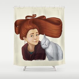 2014-08 Girl with her cat Shower Curtain