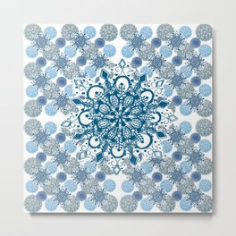 Blue Rhapsody Patterned Mandalas Metal Print