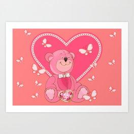Teddy Bear and Butterflies Art Print