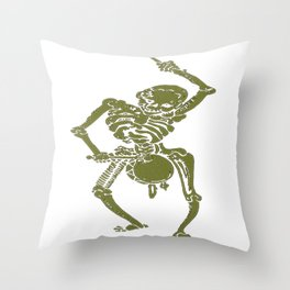 A Zombie Undead Skeleton Marching and Beating A Drum Throw Pillow