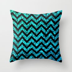Chevron Aqua Sparkle Throw Pillow