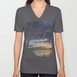Lake Quinault Sunset, Washington Unisex V-Neck