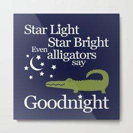 Goodnight Alligator Metal Print