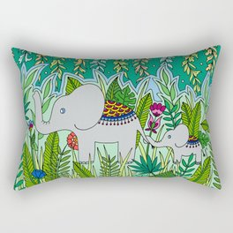 Elephant Mom and Baby Rectangular Pillow