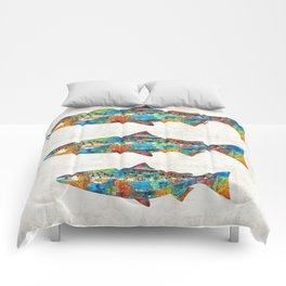 Fish Art Print - Colorful Salmon - By Sharon Cummings Comforters
