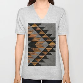 Urban Tribal Pattern No.10 - Aztec - Concrete and Wood Unisex V-Neck