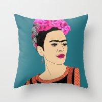 frida kahlo Throw Pillows featuring Frida Kahlo by Stephanie Jett