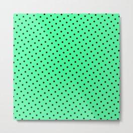 Pastel Goth Pastel Green Retro Polka Dot (Black) Metal Print
