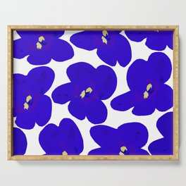 Blue Retro Flowers #decor #society6 #buyart Serving Tray