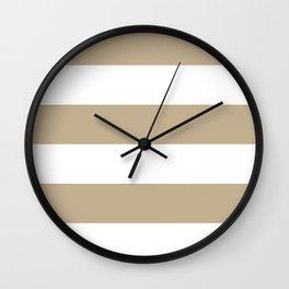 Wide Horizontal Stripes - White and Khaki Brown Wall Clock