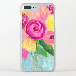 Bouquet of Flowers, Pink and Yellow Flowers, Painting Flowers in Vase Clear iPhone Case