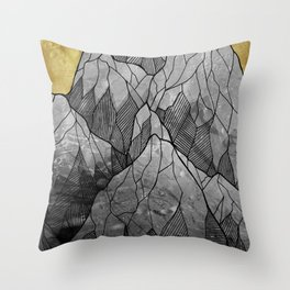 The Golden moon rises over the highest peak Throw Pillow