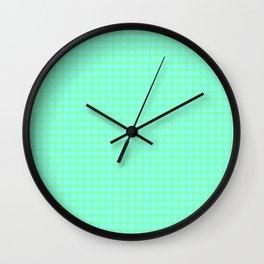 Green On Blue Plaid Wall Clock