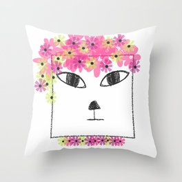 Square Cat Goes Festival Throw Pillow