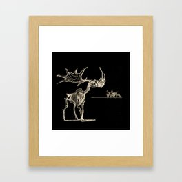 Vintage Elk Skeleton with Friends Framed Art Print