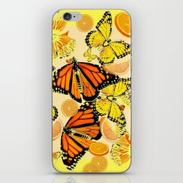YELLOW MONARCH BUTTERFLY  & ORANGES MARMALADE iPhone Skin