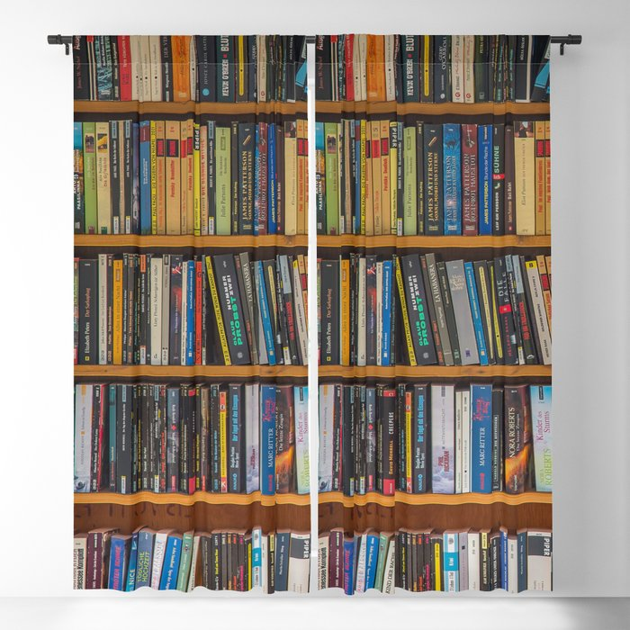 Bookshelf Books Library Bookworm Reading Pattern Blackout Curtain