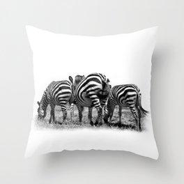 Three Zebras Throw Pillow