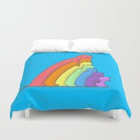 because cats Duvet Covers featuring Rainbow Cats by benk