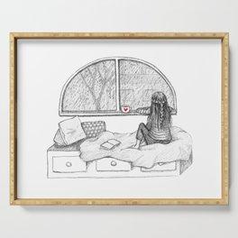 Rainy Day Window pencil illustration Serving Tray
