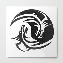 Dragons Yin Yang Metal Print