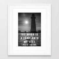 bible verse Framed Art Prints featuring Bible verse - Donaghadee Lighthouse by cmphotography