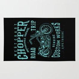 Retro Motorcycle Chopper Typography Rug